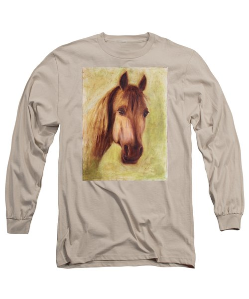 Long Sleeve T-Shirt featuring the painting A Fine Horse by Xueling Zou