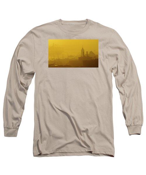 A Foggy Golden Sunset In Honolulu Harbor Long Sleeve T-Shirt by Lehua Pekelo-Stearns