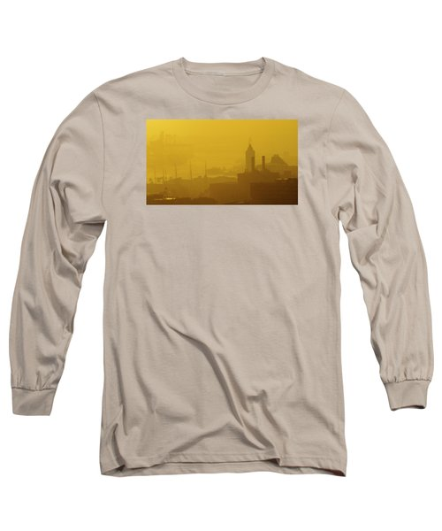 A Foggy Golden Sunset In Honolulu Harbor Long Sleeve T-Shirt