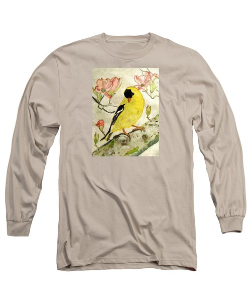 A Goldfinch Spring Long Sleeve T-Shirt by Angela Davies