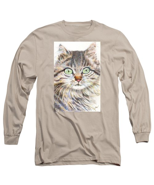 Long Sleeve T-Shirt featuring the drawing A Handsome Cat  by Jingfen Hwu
