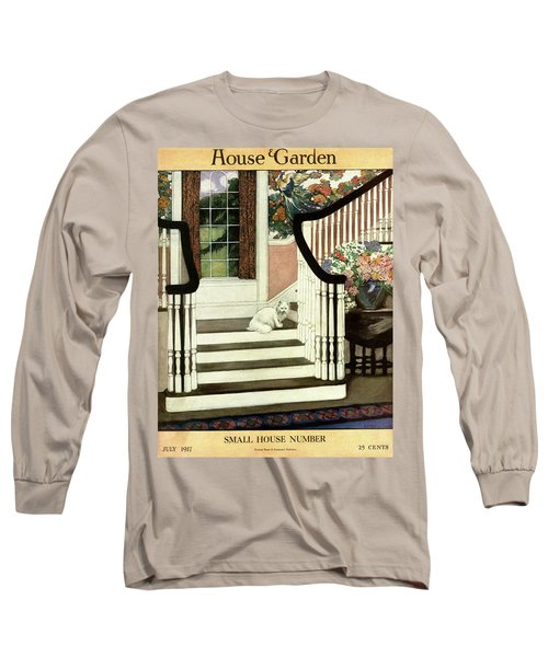 A House And Garden Cover Of A Cat On A Staircase Long Sleeve T-Shirt