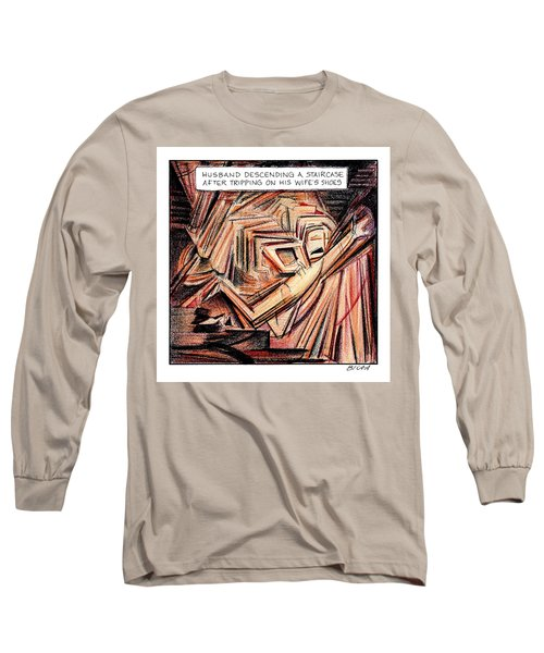 A Husband Trips Down Some Stairs In A Parody Long Sleeve T-Shirt