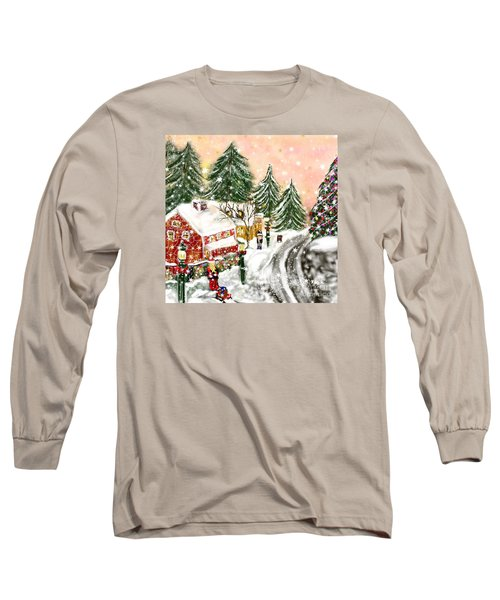 Long Sleeve T-Shirt featuring the painting A Magical Frost by Lori  Lovetere