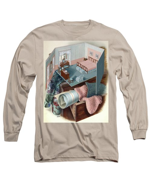 A Model Of A Bedroom On Top Of A Set Of Drawers Long Sleeve T-Shirt
