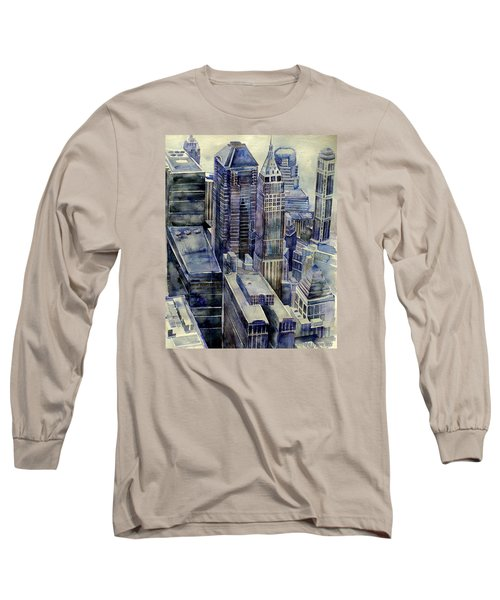 Long Sleeve T-Shirt featuring the painting Rainy Day In Gotham by Jeffrey S Perrine