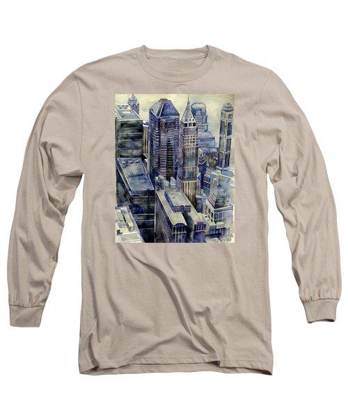 Rainy Day In Gotham Long Sleeve T-Shirt by Jeffrey S Perrine