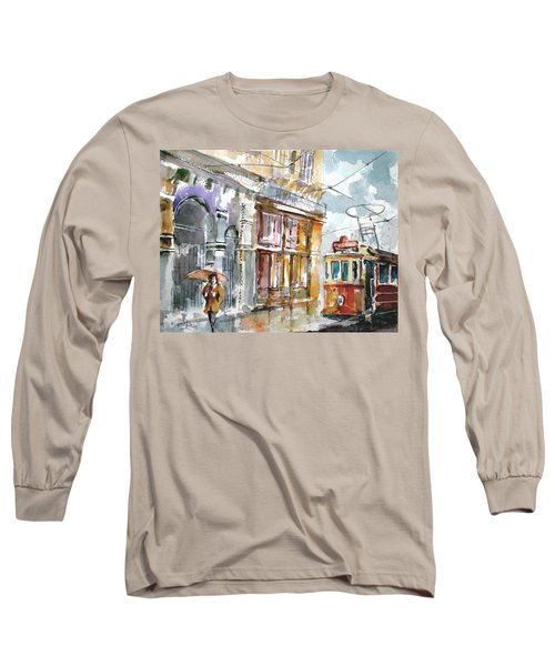 Long Sleeve T-Shirt featuring the painting A Rainy Day In Istanbul by Faruk Koksal