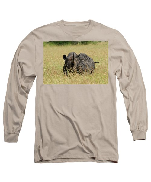 A Rhino Standing In The Grass Long Sleeve T-Shirt