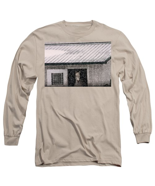 A Snowfall At The Stable Long Sleeve T-Shirt by Bruce Patrick Smith
