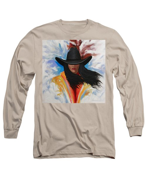 A Stroke Of Cowgirl Long Sleeve T-Shirt by Lance Headlee