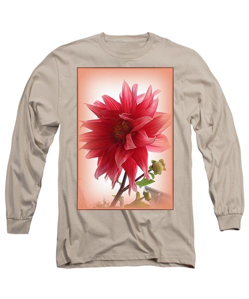 A Vision In  Coral - Dahlia Long Sleeve T-Shirt by Dora Sofia Caputo Photographic Art and Design