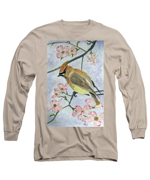 A Waxwing In The Dogwood Long Sleeve T-Shirt