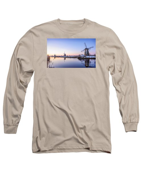 A Cold Winter Morning With Some Windmills In The Netherlands Long Sleeve T-Shirt by IPics Photography