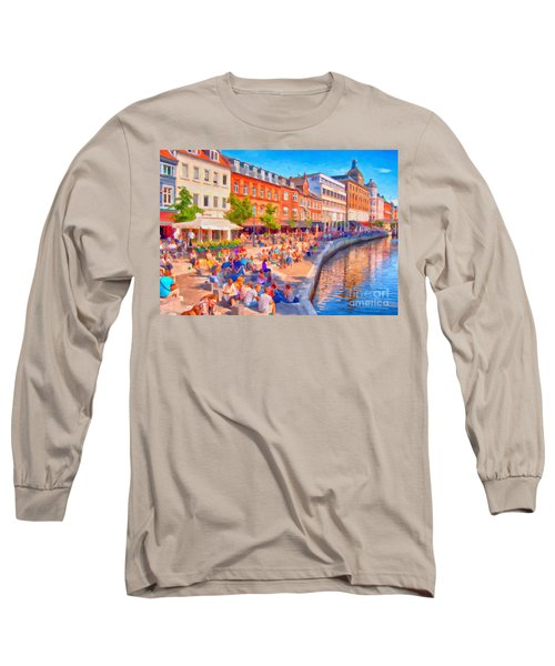 Aarhus Canal Digital Painting Long Sleeve T-Shirt by Antony McAulay