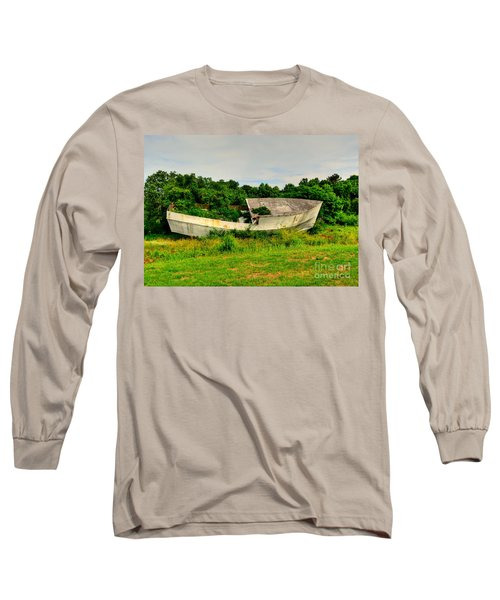 Long Sleeve T-Shirt featuring the photograph Abandoned Boat by Kathy Baccari