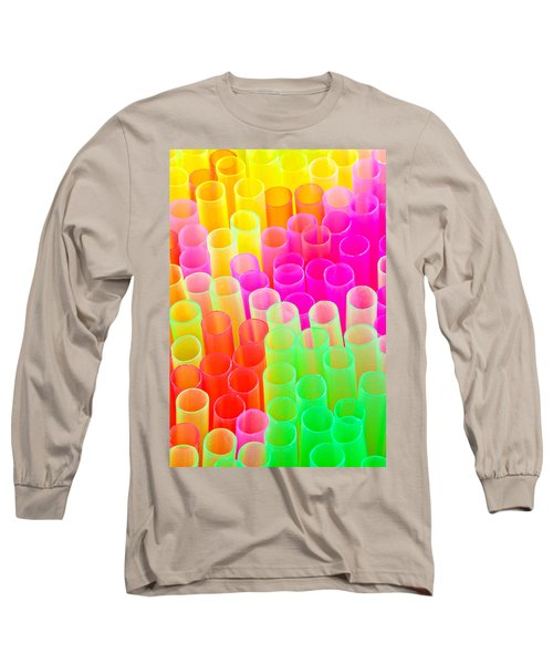 Abstract Drinking Straws #2 Long Sleeve T-Shirt by Meirion Matthias