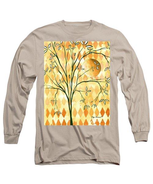 Abstract Harlequin Diamond Pattern Painting Original Landscape Art Moon Tree By Megan Duncanson Long Sleeve T-Shirt