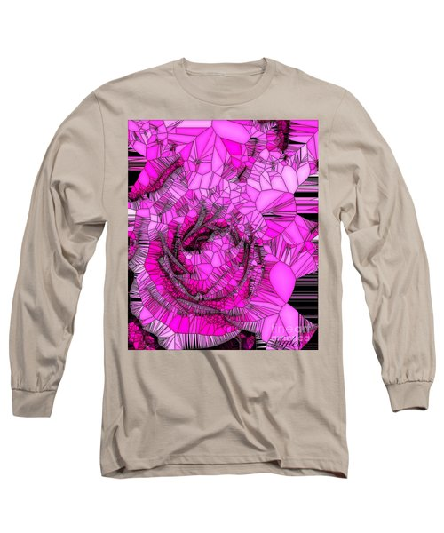 Abstract Pink Rose Mosaic Long Sleeve T-Shirt by Saundra Myles