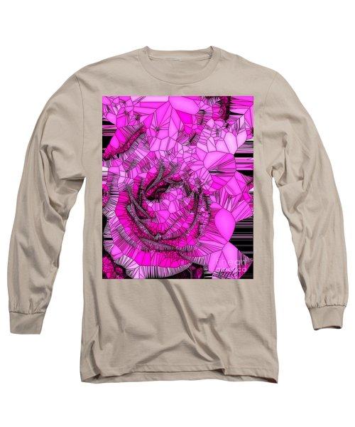 Abstract Pink Rose Mosaic Long Sleeve T-Shirt