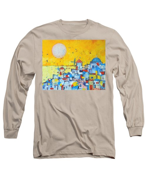 Abstract Santorini - Oia Before Sunset Long Sleeve T-Shirt by Ana Maria Edulescu