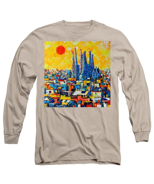 Abstract Sunset Over Sagrada Familia In Barcelona Long Sleeve T-Shirt