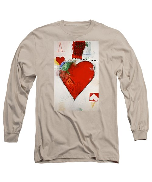 Long Sleeve T-Shirt featuring the painting Ace Of Hearts 8-52 by Cliff Spohn
