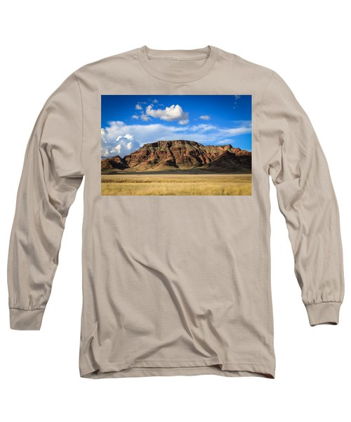 Aferican Grass And Mountain In Sossusvlei Long Sleeve T-Shirt