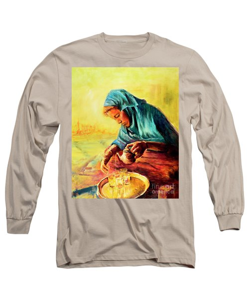 African Chai Tea Lady. Long Sleeve T-Shirt by Sher Nasser