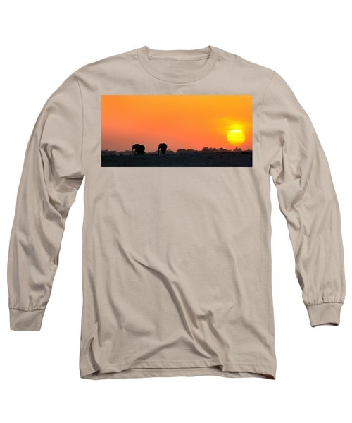 Long Sleeve T-Shirt featuring the photograph African Elephant Sunset by Amanda Stadther