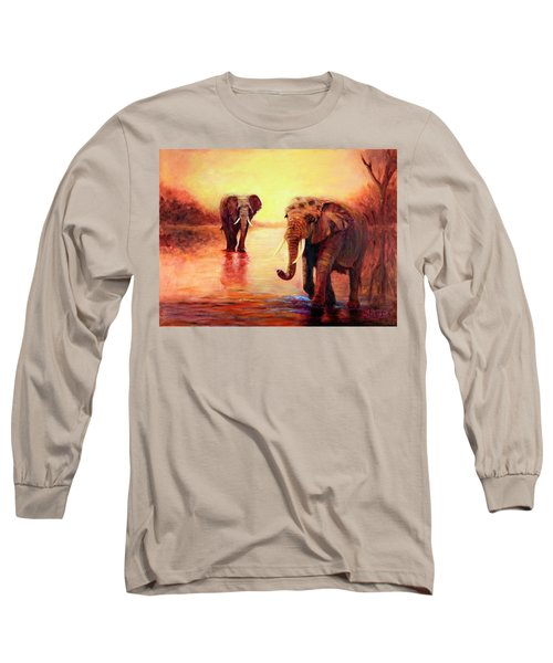 African Elephants At Sunset In The Serengeti Long Sleeve T-Shirt
