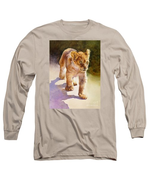 Long Sleeve T-Shirt featuring the painting African Lion Cub by Bonnie Rinier