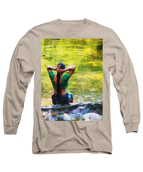 After The River Bathing. Indian Woman. Impressionism Long Sleeve T-Shirt by Jenny Rainbow