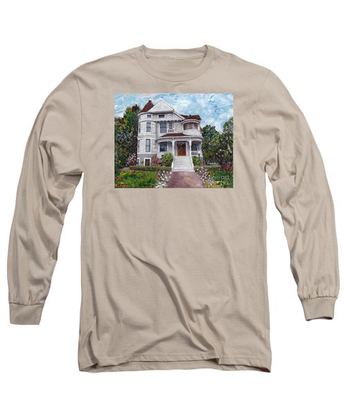 Long Sleeve T-Shirt featuring the painting Alameda 1897 - Queen Anne by Linda Weinstock