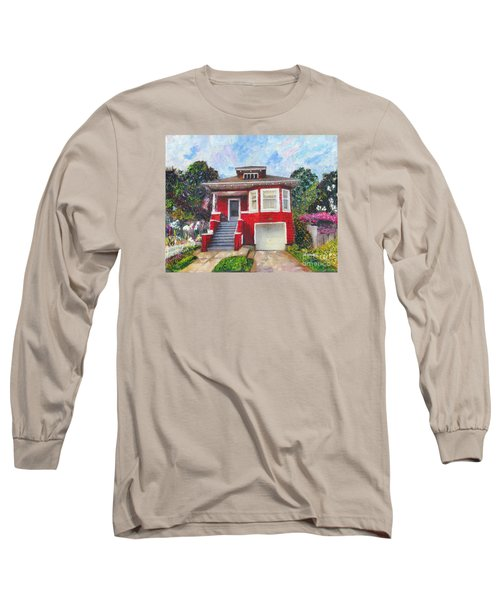 Colonial Revival High Basement Cottage 1907  Long Sleeve T-Shirt by Linda Weinstock