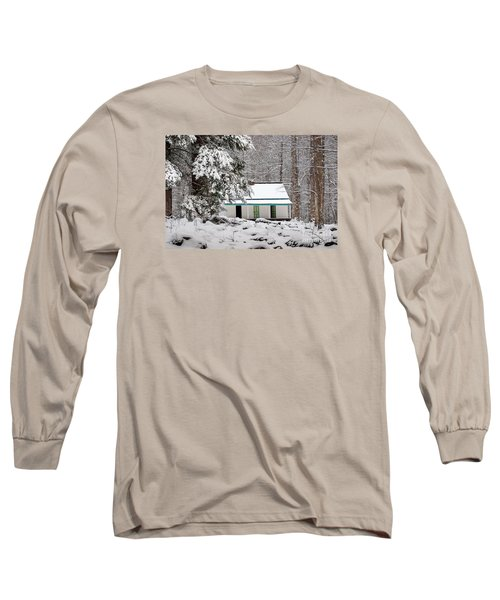 Long Sleeve T-Shirt featuring the photograph Alfred Reagan's Home In Snow by Debbie Green
