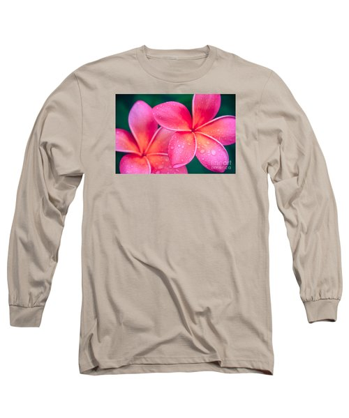 Aloha Hawaii Kalama O Nei Pink Tropical Plumeria Long Sleeve T-Shirt by Sharon Mau