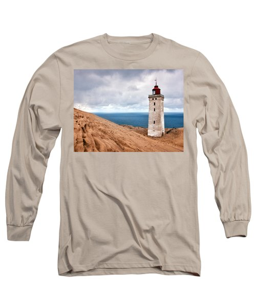 Lighthouse On The Sand Hils Long Sleeve T-Shirt by Mike Santis