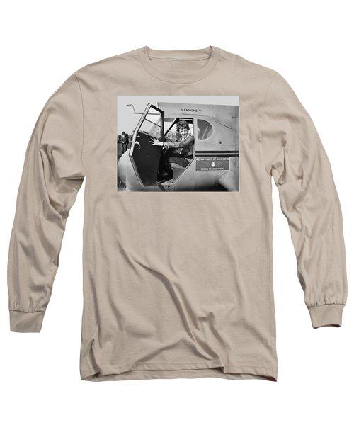 Amelia Earhart - 1936 Long Sleeve T-Shirt by Daniel Hagerman