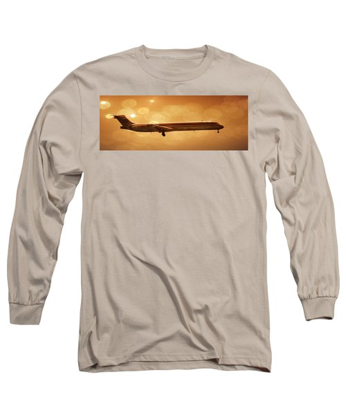 Airplane Long Sleeve T-Shirt featuring the photograph American Airlines Md80  by Aaron Berg
