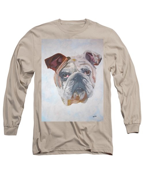 Long Sleeve T-Shirt featuring the painting American Bulldog Pet Portrait by Tracey Harrington-Simpson
