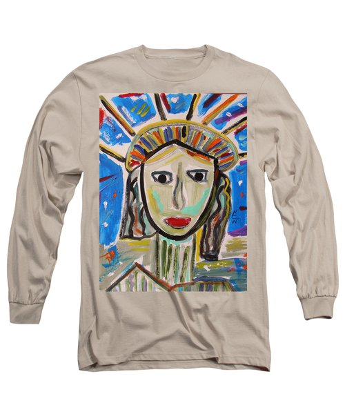 Long Sleeve T-Shirt featuring the painting American Lady by Mary Carol Williams