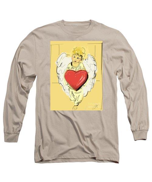 Angel Red Heart Long Sleeve T-Shirt by Go Van Kampen