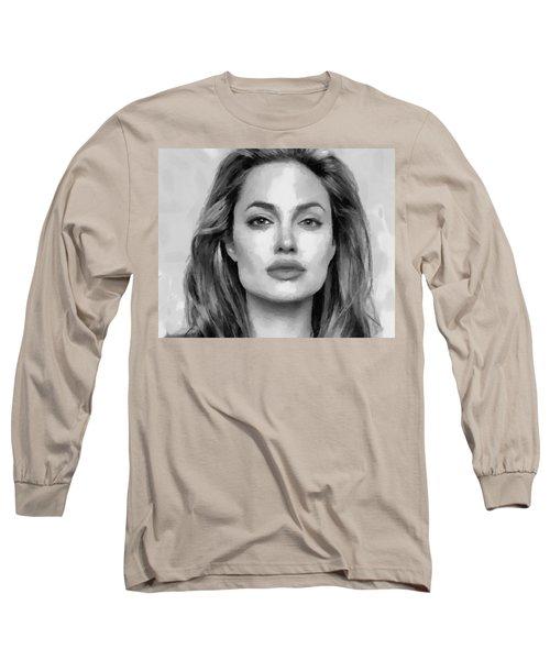 Angelina Jolie Black And White Long Sleeve T-Shirt by Georgi Dimitrov