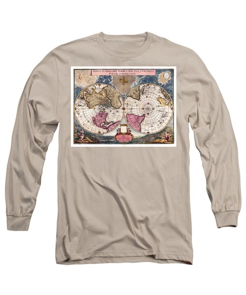 Long Sleeve T-Shirt featuring the photograph Antique World Map 1695 Novus Planiglobii Terrestris Per Utrumque Polum Conspectus by Karon Melillo DeVega
