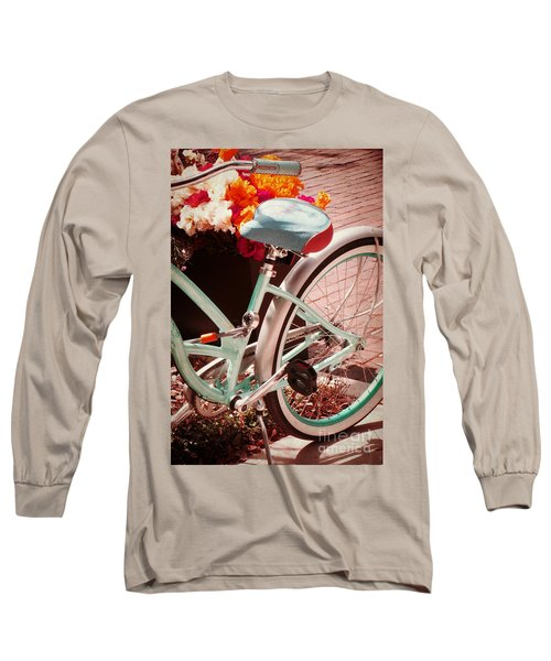 Aqua Bicycle Long Sleeve T-Shirt by Valerie Reeves