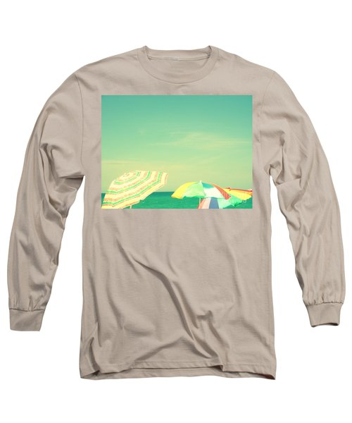 Aqua Sky With Umbrellas Long Sleeve T-Shirt by Valerie Reeves