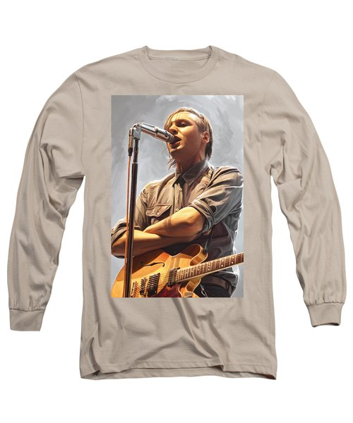 Long Sleeve T-Shirt featuring the painting Arcade Fire Win Butler Artwork by Sheraz A
