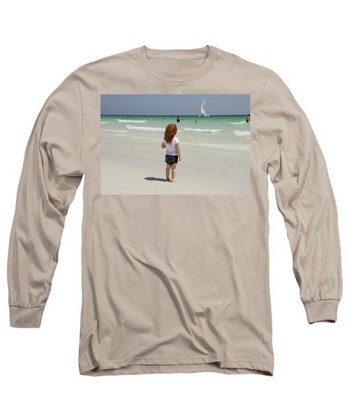As The Sail Boat Rolls By Long Sleeve T-Shirt by Charles Beeler