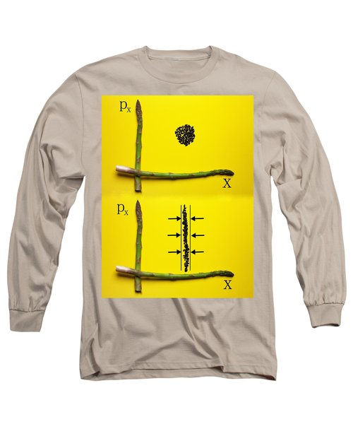 Long Sleeve T-Shirt featuring the photograph Asparagus And Black Rice Depicting Heisenberg Uncertainty Food Physics by Paul Ge